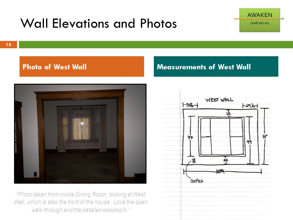 "Wall Elevations and Photos 15 Photo of West WallMeasurements of West Wall ""Photo taken from inside Dining Room, looking at West Wall, which is also th"