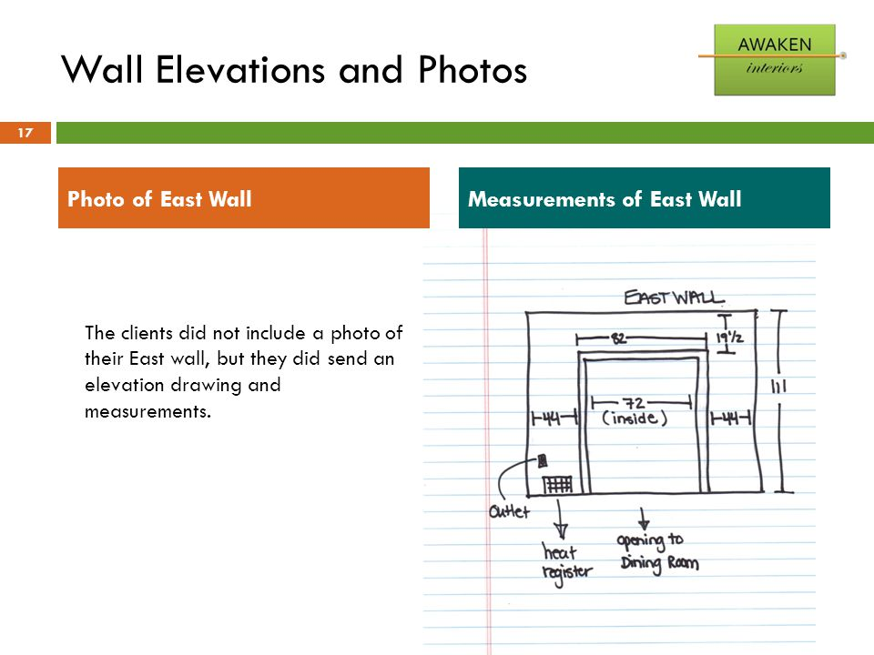 Wall Elevations and Photos 17 The clients did not include a photo of their East wall, but they did send an elevation drawing and measurements. Measure