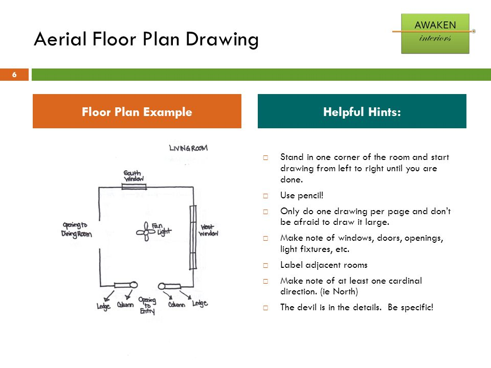 Aerial Floor Plan Drawing  Stand in one corner of the room and start drawing from left to right until you are done.  Use pencil!  Only do one drawi