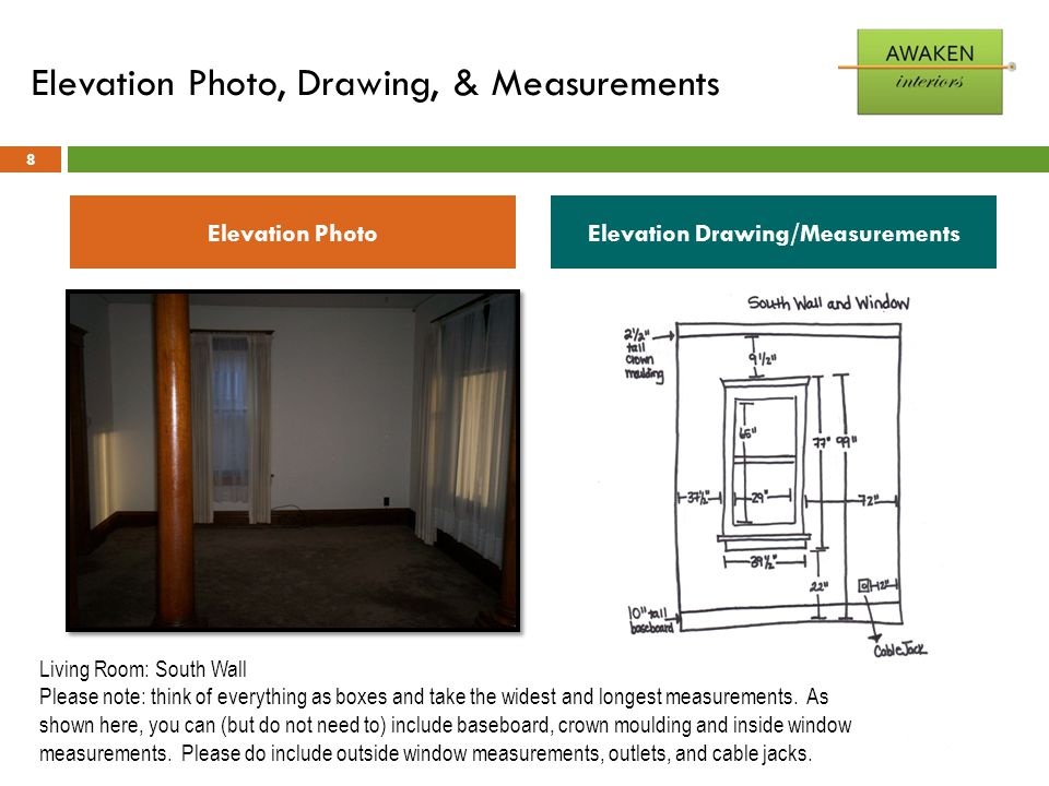 Elevation Photo, Drawing, & Measurements 8 Elevation PhotoElevation Drawing/Measurements Living Room: South Wall Please note: think of everything as b