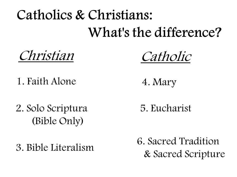 Catholics & Christians: What s the difference. 3.