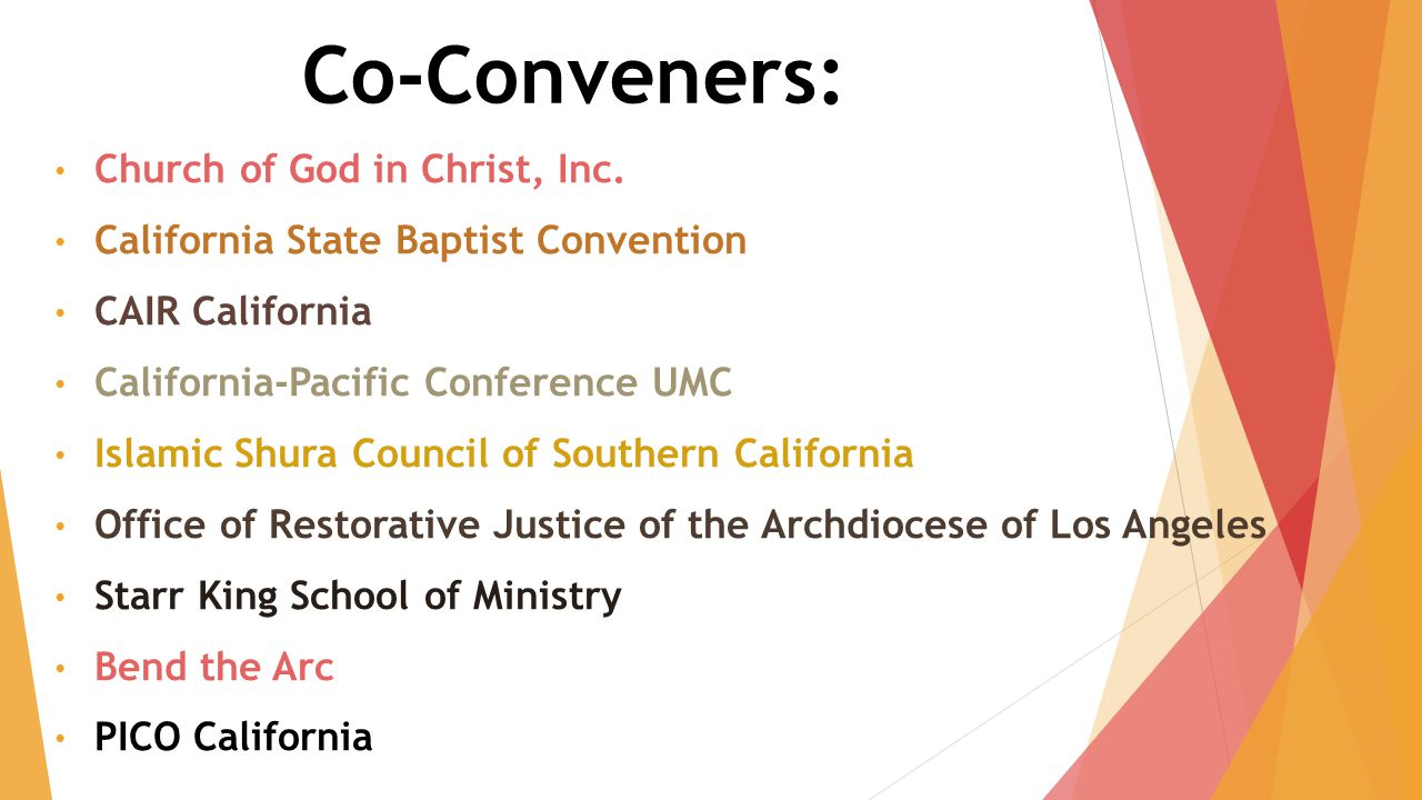 Co-Conveners: Church of God in Christ, Inc.