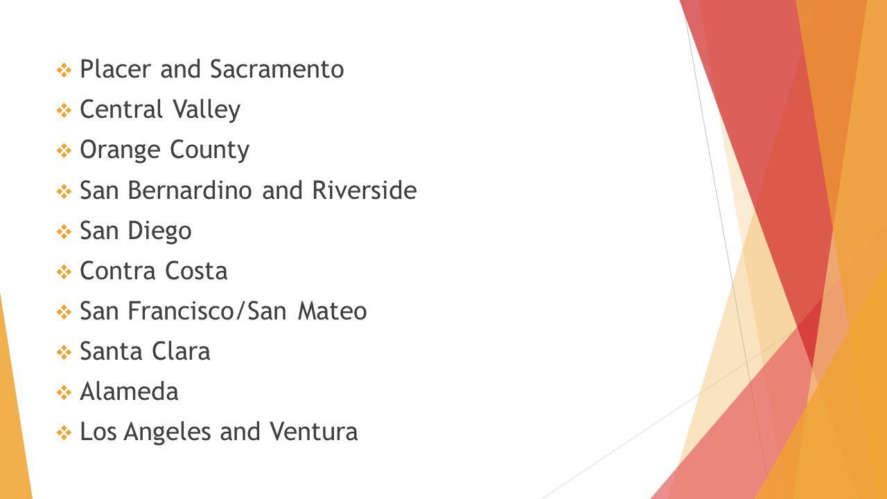  Placer and Sacramento  Central Valley  Orange County  San Bernardino and Riverside  San Diego  Contra Costa  San Francisco/San Mateo  Santa C