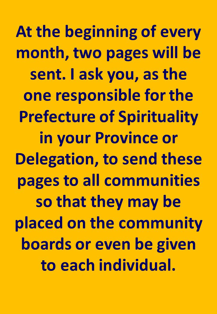 At the beginning of every month, two pages will be sent.