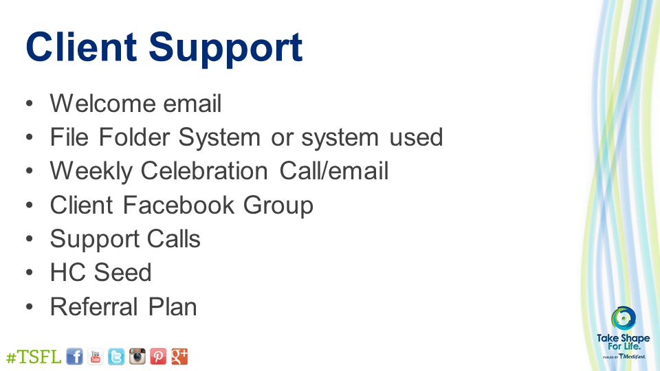Client Support Welcome email File Folder System or system used Weekly Celebration Call/email Client Facebook Group Support Calls HC Seed Referral Plan