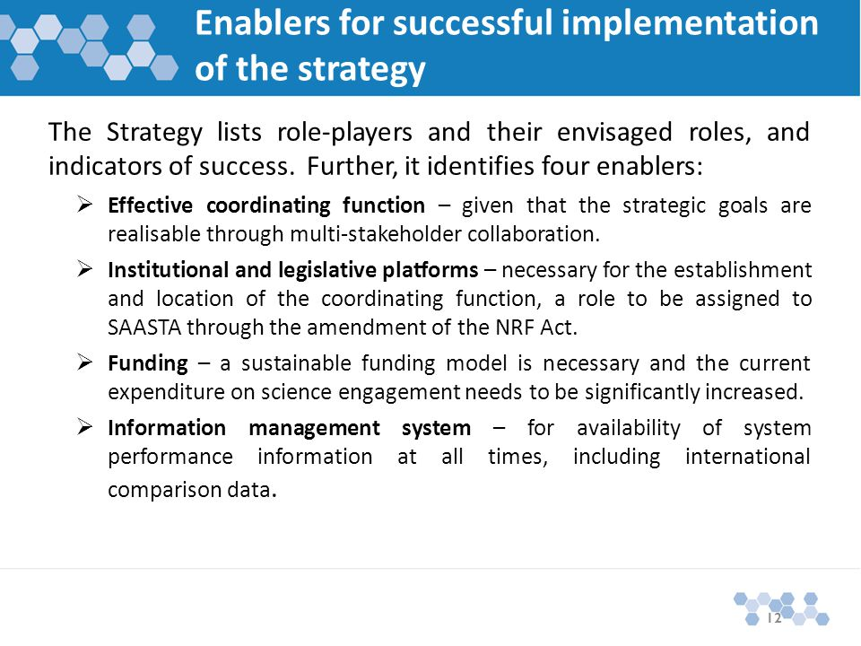Enablers for successful implementation of the strategy The Strategy lists role-players and their envisaged roles, and indicators of success.