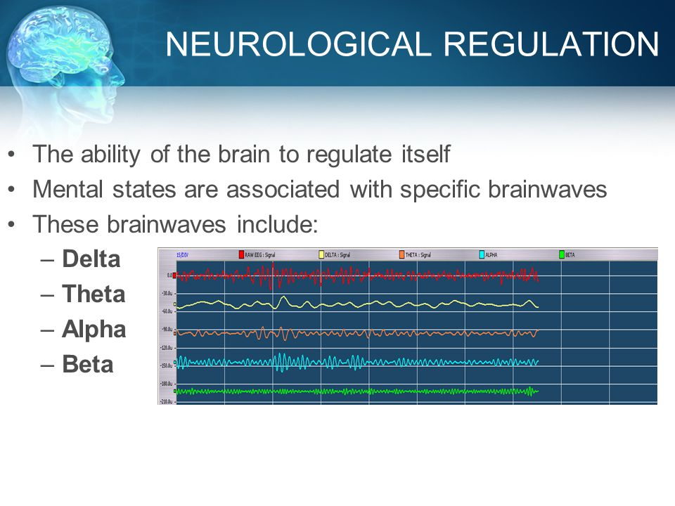 NEUROLOGICAL REGULATION The ability of the brain to regulate itself Mental states are associated with specific brainwaves These brainwaves include: –Delta –Theta –Alpha –Beta