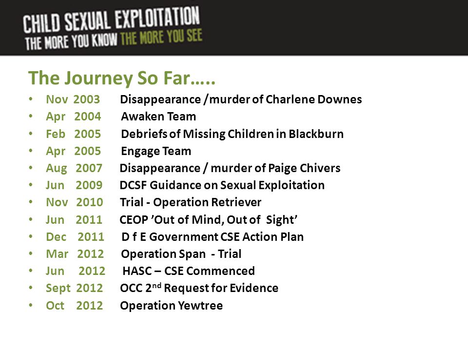 The Journey So Far….. Nov 2003 Disappearance /murder of Charlene Downes Apr 2004 Awaken Team Feb 2005 Debriefs of Missing Children in Blackburn Apr 20