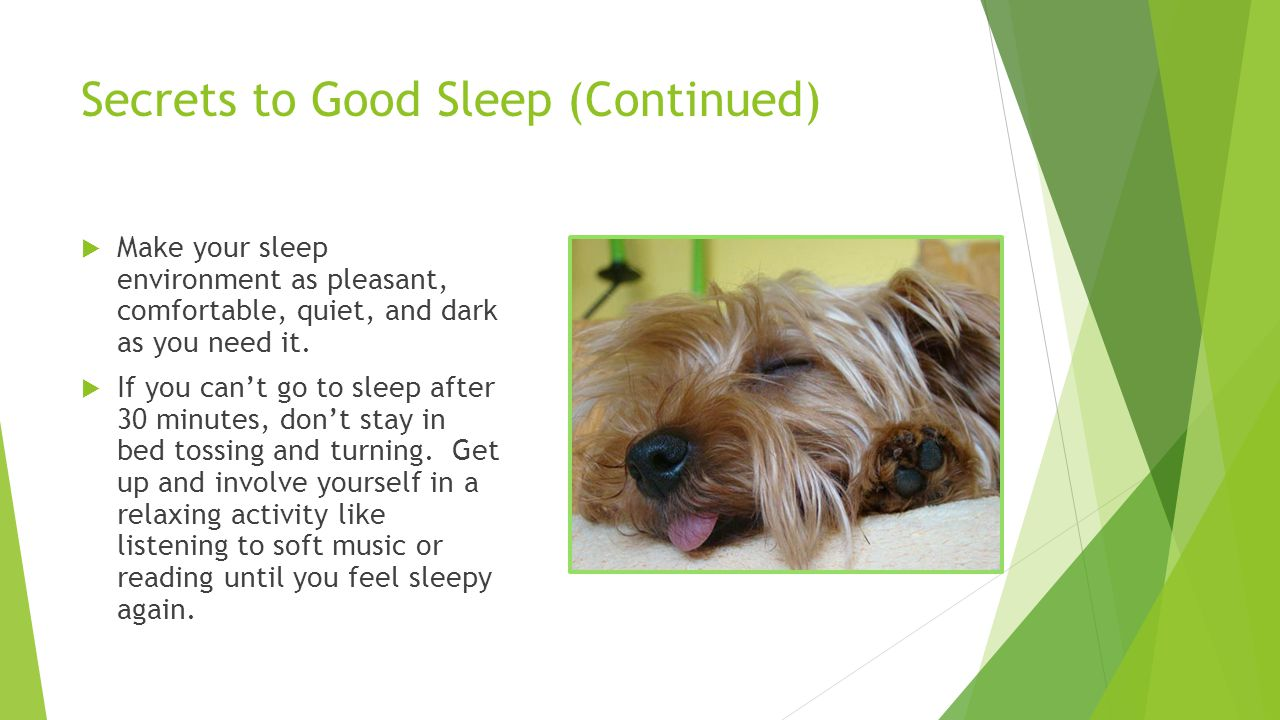Secrets to Good Sleep (Continued)  Make your sleep environment as pleasant, comfortable, quiet, and dark as you need it.  If you can't go to sleep a