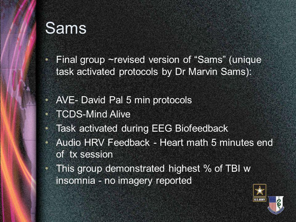 "Sams Final group ~revised version of ""Sams"" (unique task activated protocols by Dr Marvin Sams): AVE- David Pal 5 min protocols TCDS-Mind Alive Task a"