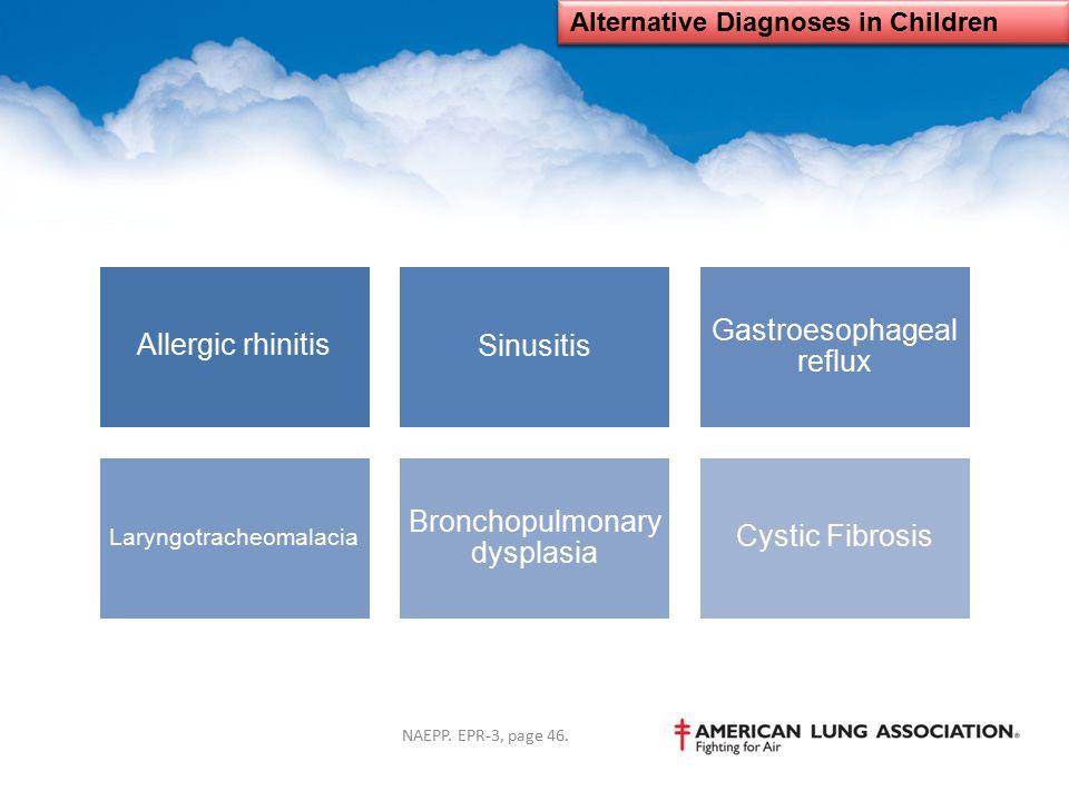 Alternative Diagnoses in Children Allergic rhinitisSinusitis Gastroesophageal reflux Laryngotracheomalacia Bronchopulmonary dysplasia Cystic Fibrosis