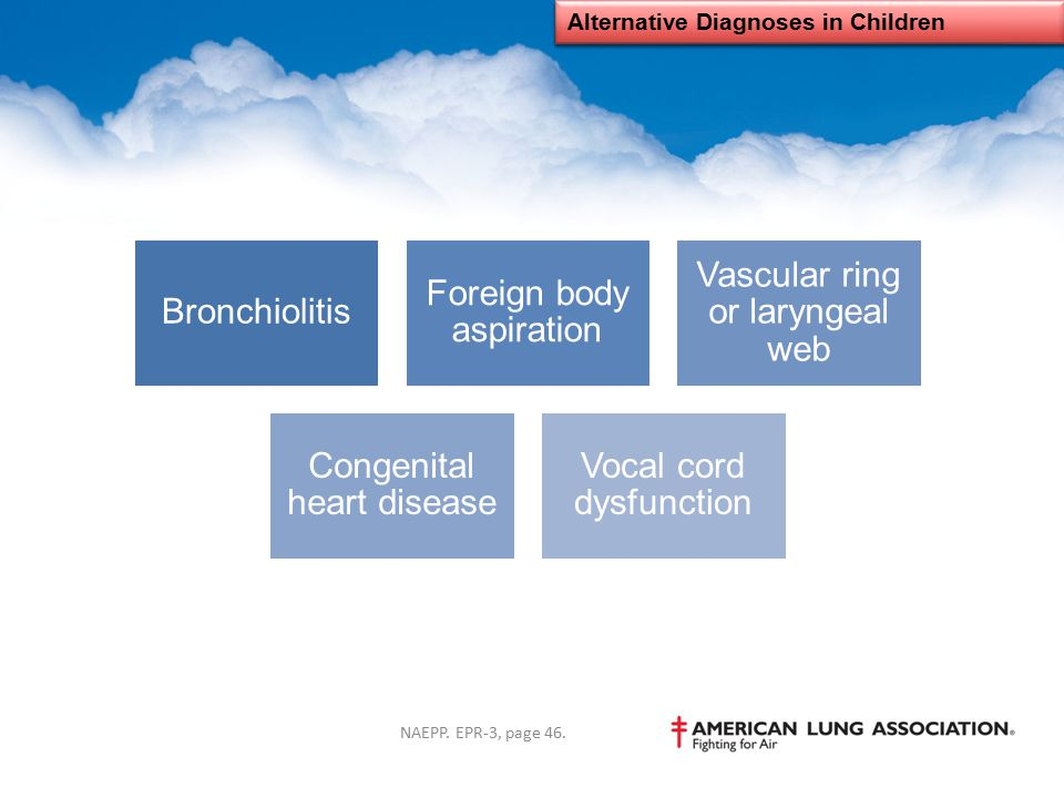 Alternative Diagnoses in Children Bronchiolitis Foreign body aspiration Vascular ring or laryngeal web Congenital heart disease Vocal cord dysfunction