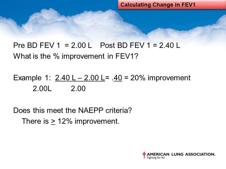 Pre BD FEV 1 = 2.00 L Post BD FEV 1 = 2.40 L What is the % improvement in FEV1? Example 1: 2.40 L – 2.00 L=.40 = 20% improvement 2.00L 2.00 Does this