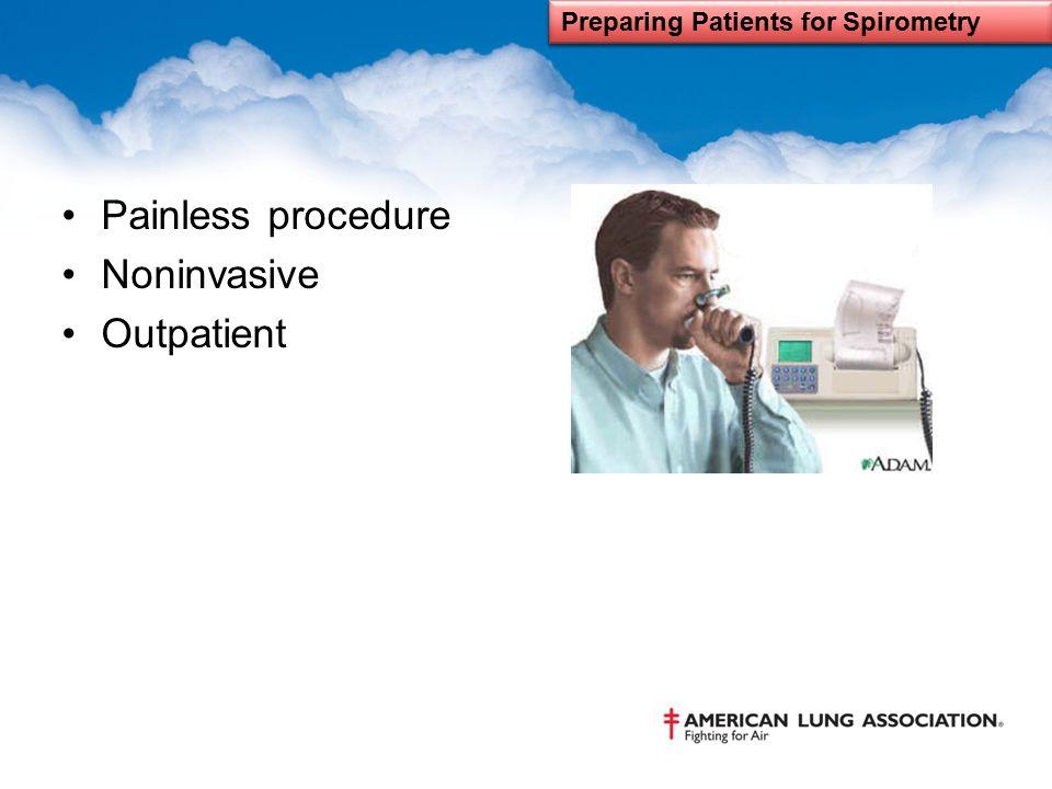 Painless procedure Noninvasive Outpatient Preparing Patients for Spirometry