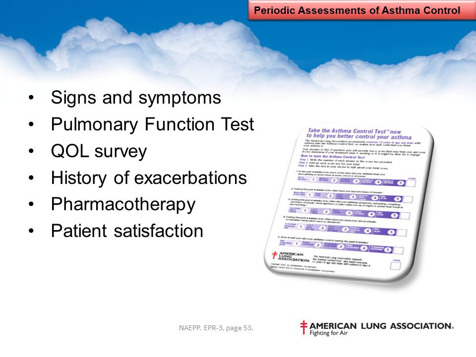 Signs and symptoms Pulmonary Function Test QOL survey History of exacerbations Pharmacotherapy Patient satisfaction Periodic Assessments of Asthma Con