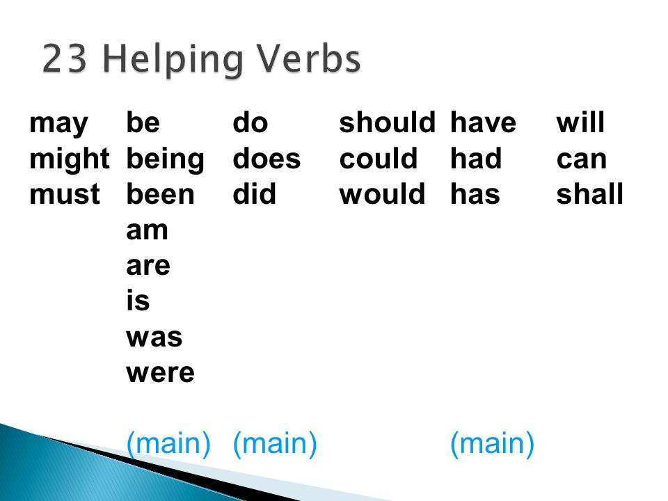  A helping verb works with a main verb to help you understand what action is taking place. was using Elmer was using the computer.