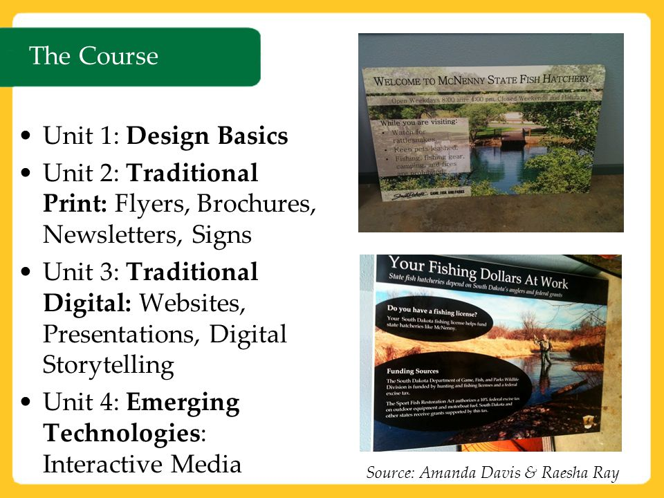 The Course Unit 1: Design Basics Unit 2: Traditional Print: Flyers, Brochures, Newsletters, Signs Unit 3: Traditional Digital: Websites, Presentations, Digital Storytelling Unit 4: Emerging Technologies: Interactive Media Source: Amanda Davis & Raesha Ray