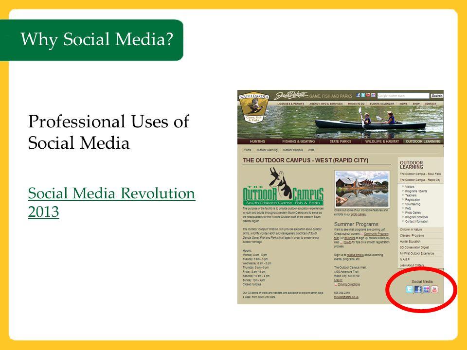 Why Social Media? Professional Uses of Social Media Social Media Revolution 2013