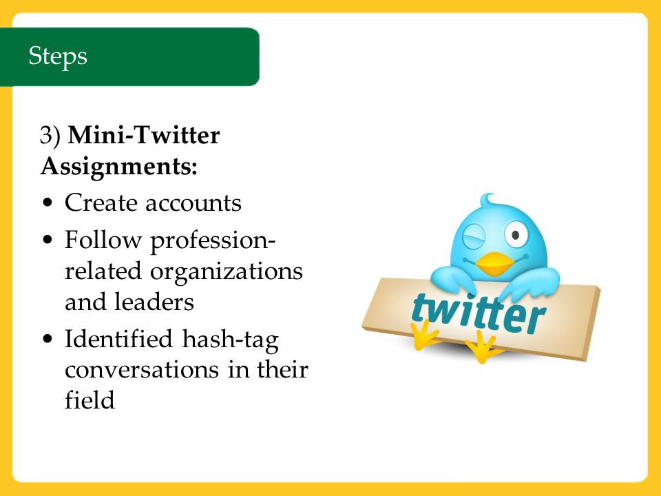 Steps 3) Mini-Twitter Assignments: Create accounts Follow profession- related organizations and leaders Identified hash-tag conversations in their field