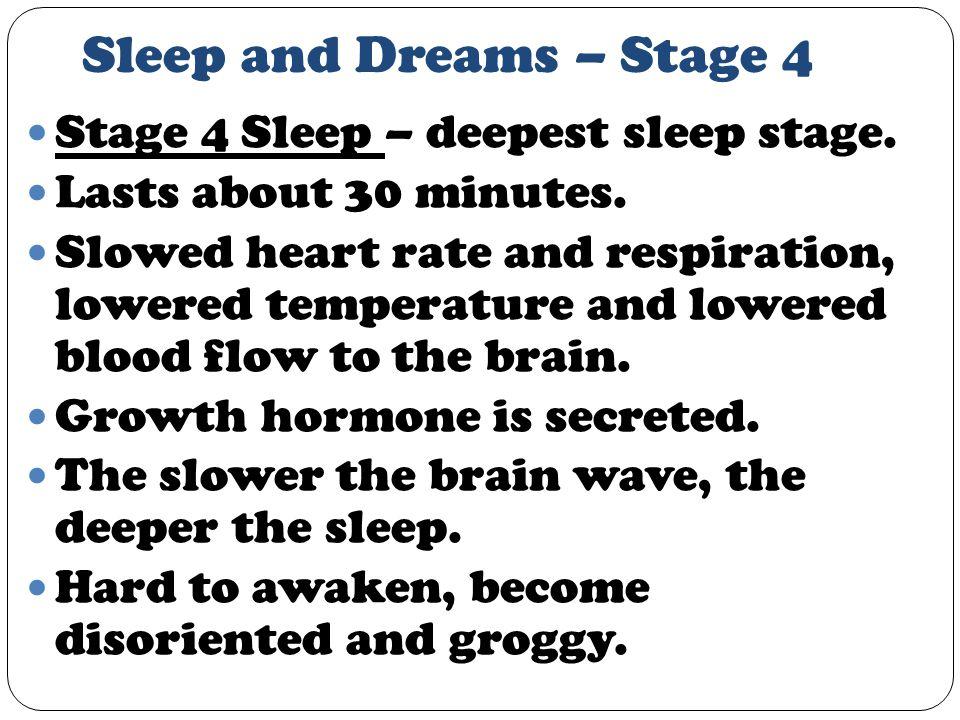 Sleep and Dreams – Stage 4 Stage 4 Sleep – deepest sleep stage.