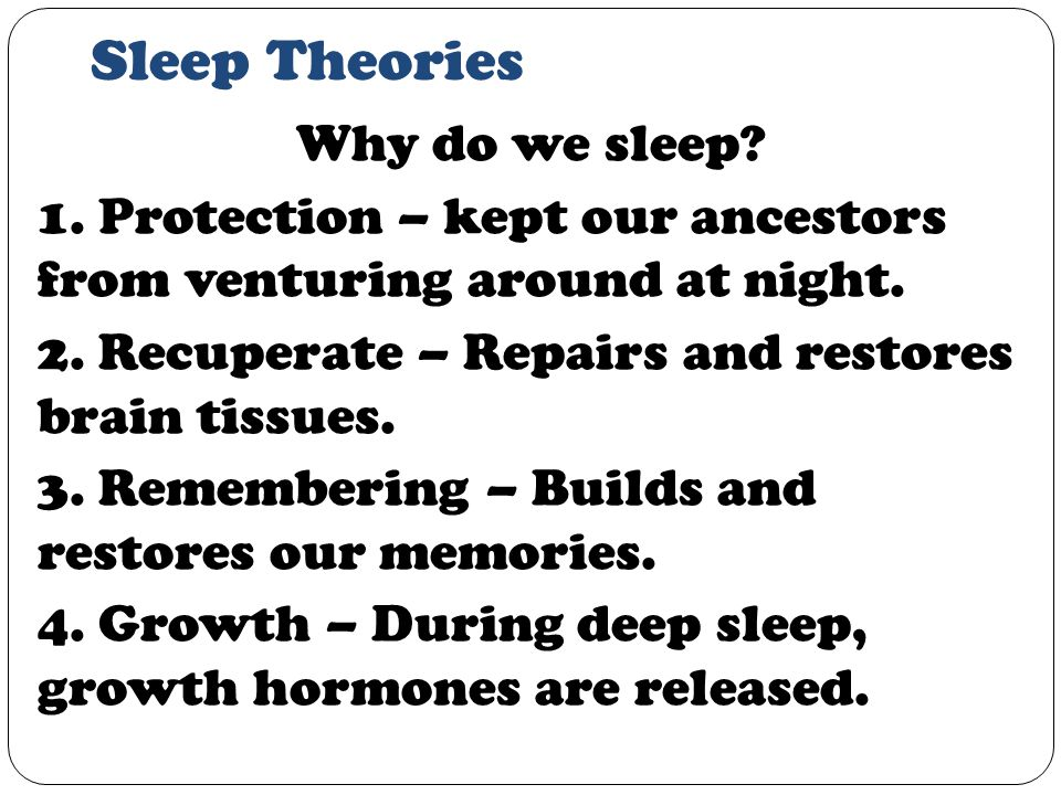 Sleep Theories Why do we sleep. 1. Protection – kept our ancestors from venturing around at night.