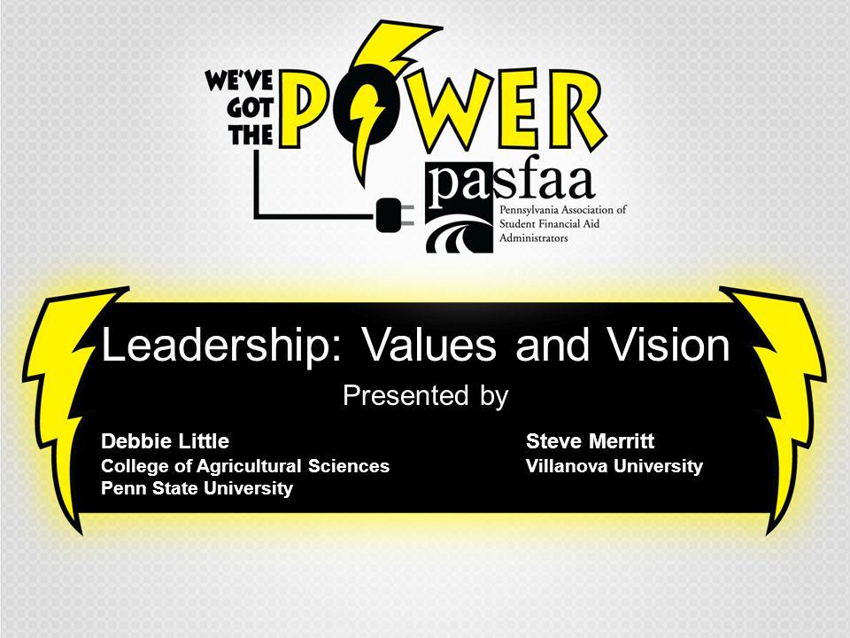 Leadership: Values and Vision Presented by Debbie LittleSteve Merritt College of Agricultural SciencesVillanova University Penn State University