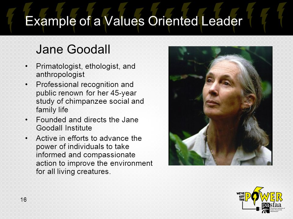 16 Example of a Values Oriented Leader Jane Goodall Primatologist, ethologist, and anthropologist Professional recognition and public renown for her 45-year study of chimpanzee social and family life Founded and directs the Jane Goodall Institute Active in efforts to advance the power of individuals to take informed and compassionate action to improve the environment for all living creatures.