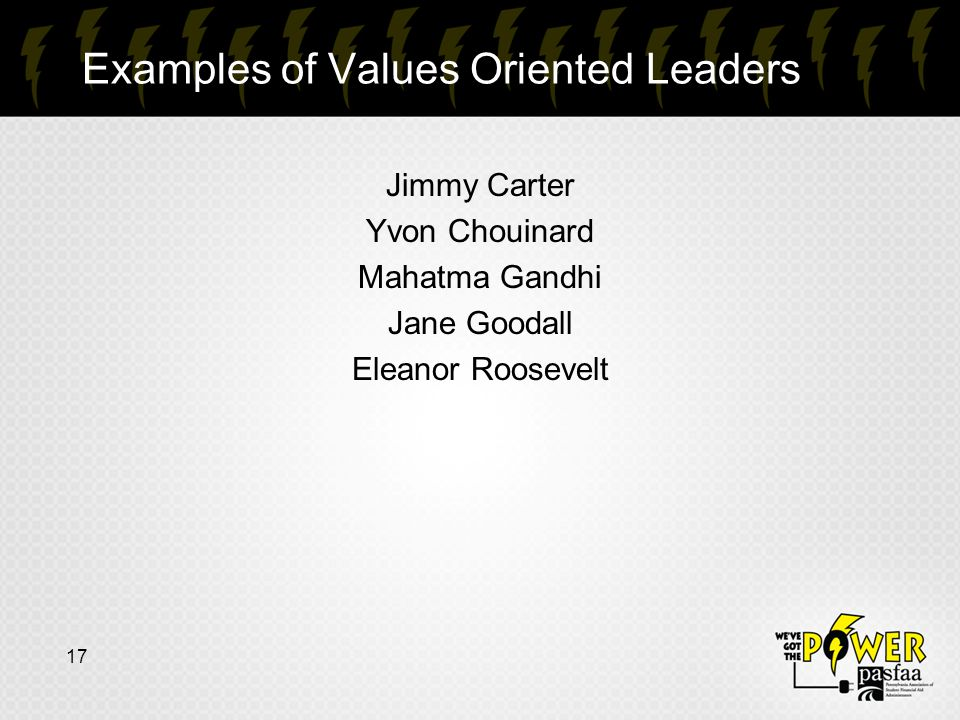 Examples of Values Oriented Leaders 17 Jimmy Carter Yvon Chouinard Mahatma Gandhi Jane Goodall Eleanor Roosevelt