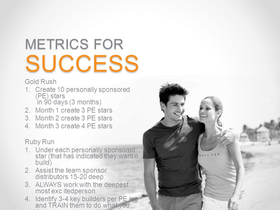 METRICS FOR SUCCESS Gold Rush 1.Create 10 personally sponsored (PE) stars in 90 days (3 months) 2.Month 1 create 3 PE stars 3.Month 2 create 3 PE star