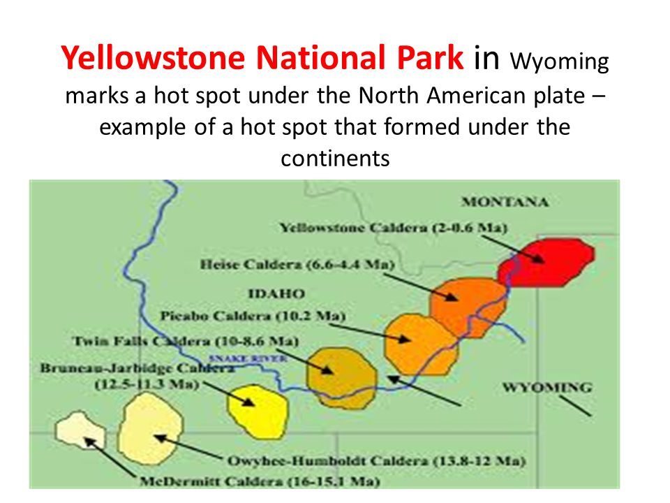 Yellowstone National Park in Wyoming marks a hot spot under the North American plate – example of a hot spot that formed under the continents