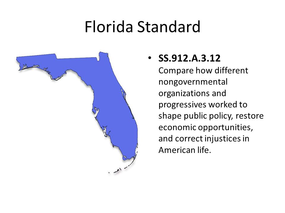 Florida Standard SS.912.A.3.12 Compare how different nongovernmental organizations and progressives worked to shape public policy, restore economic op