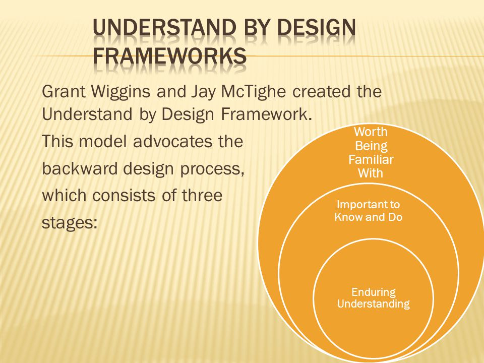 Grant Wiggins and Jay McTighe created the Understand by Design Framework. This model advocates the backward design process, which consists of three st