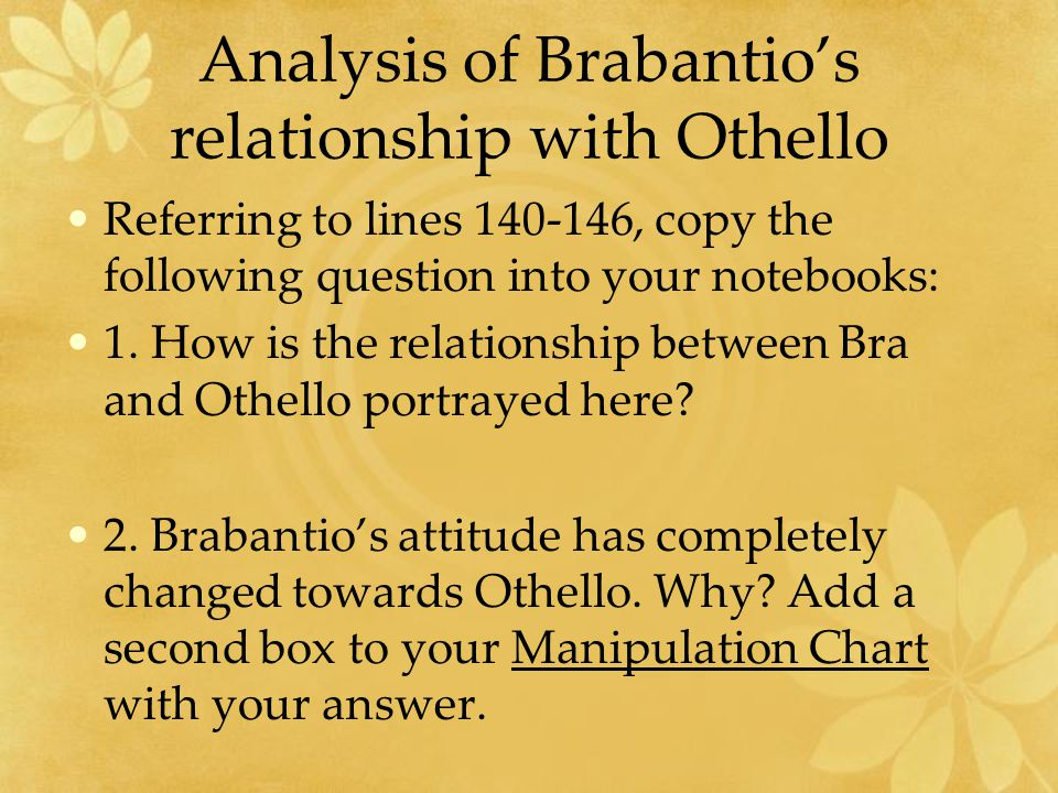 Analysis of Brabantio's relationship with Othello Referring to lines 140-146, copy the following question into your notebooks: 1.
