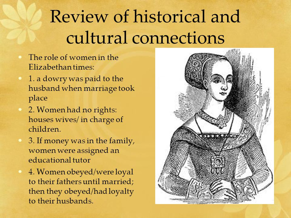 Review of historical and cultural connections The role of women in the Elizabethan times: 1.