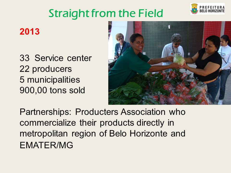 2013 33 Service center 22 producers 5 municipalities 900,00 tons sold Partnerships: Producters Association who commercialize their products directly in metropolitan region of Belo Horizonte and EMATER/MG