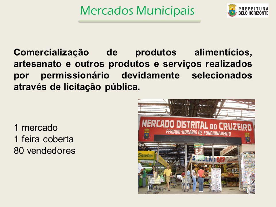 Comercialização de produtos alimentícios, artesanato e outros produtos e serviços realizados por permissionário devidamente selecionados através de li