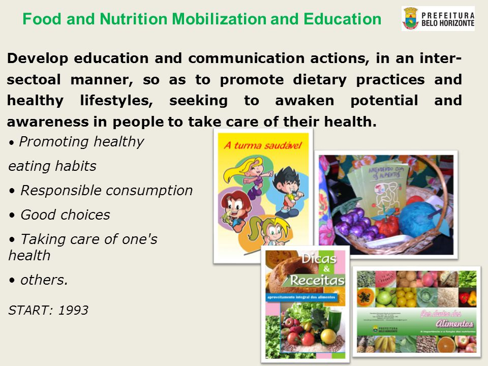 Promoting healthy eating habits Responsible consumption Good choices Taking care of one s health others.