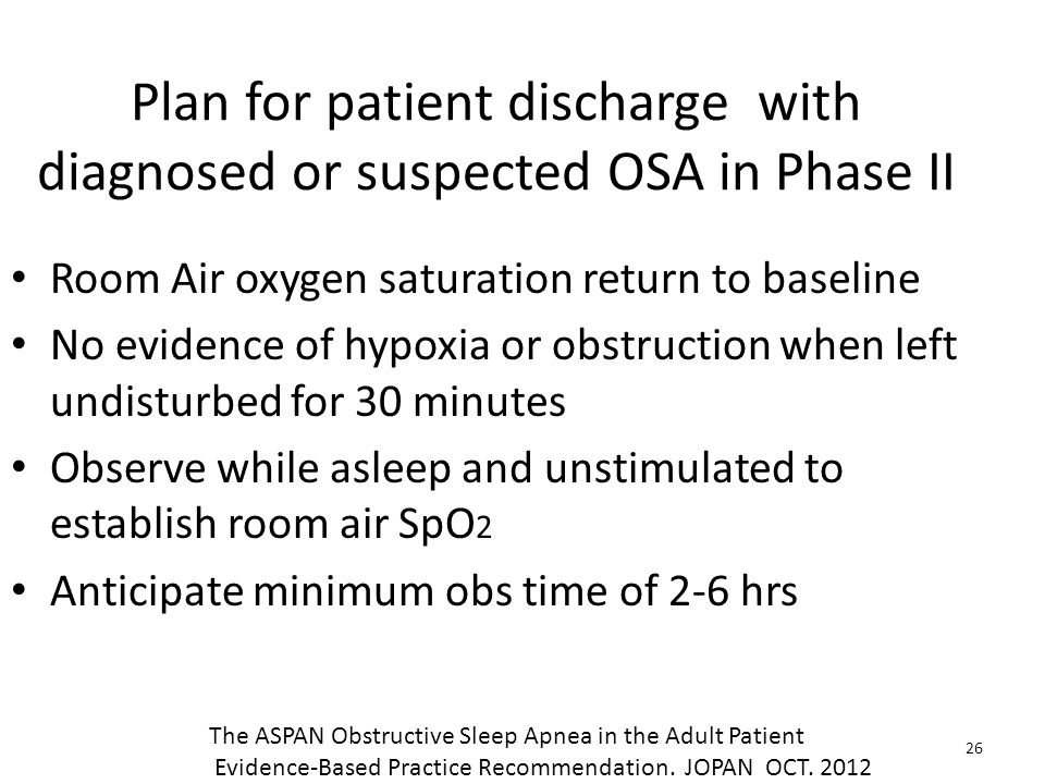 Plan for patient discharge with diagnosed or suspected OSA in Phase II Room Air oxygen saturation return to baseline No evidence of hypoxia or obstruc