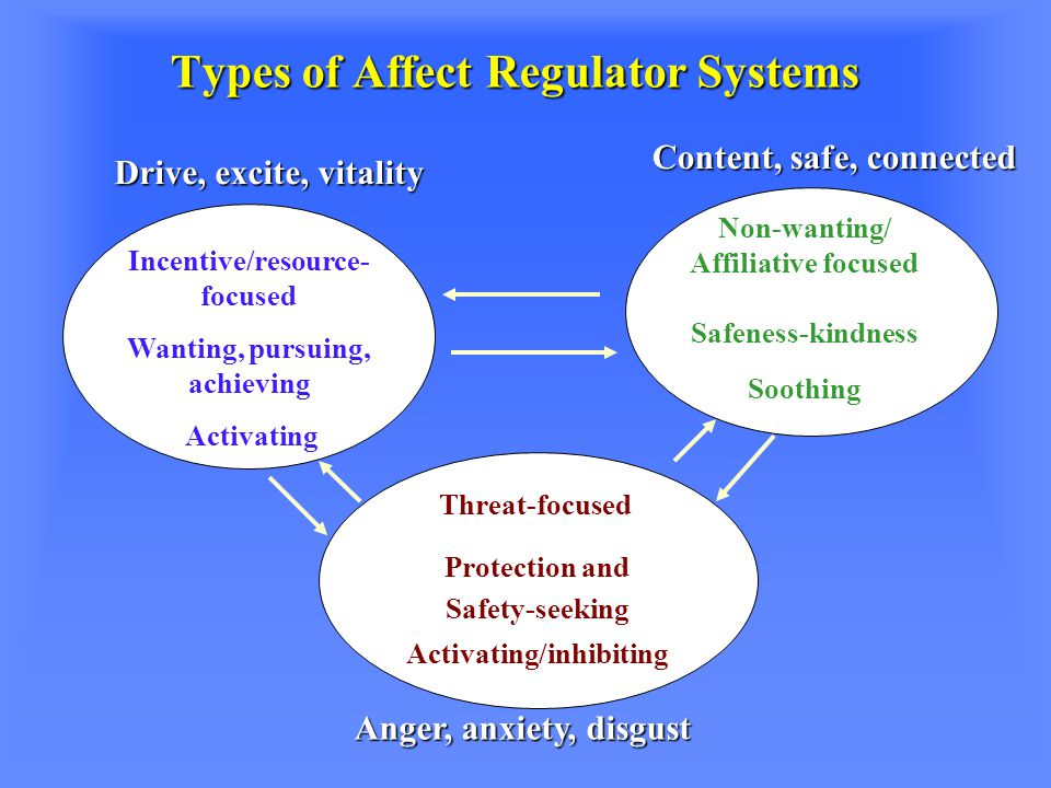 Types of Affect Regulator Systems Incentive/resource- focused Wanting, pursuing, achieving Activating Non-wanting/ Affiliative focused Safeness-kindness Soothing Threat-focused Protection and Safety-seeking Activating/inhibiting Anger, anxiety, disgust Drive, excite, vitality Content, safe, connected