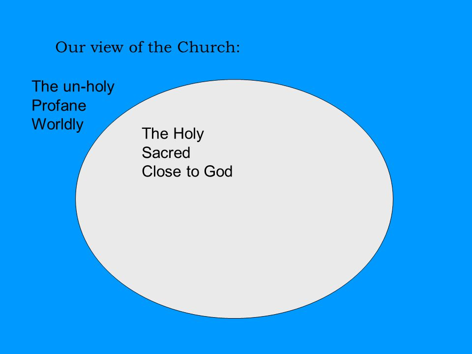 Our view of the Church: The Holy Sacred Close to God The un-holy Profane Worldly