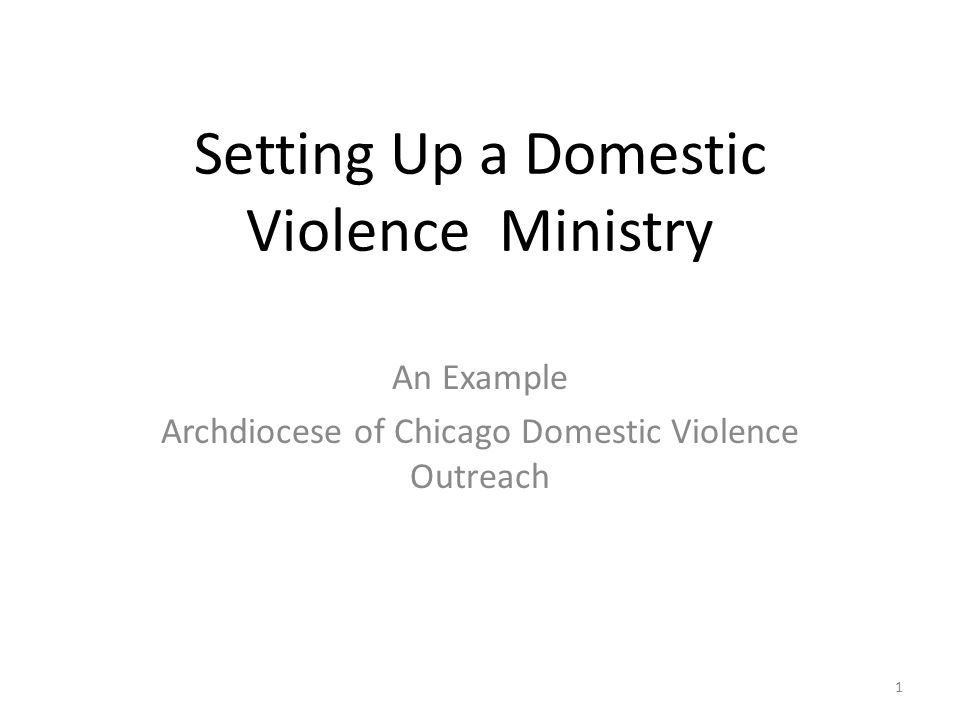 Setting Up a Domestic Violence Ministry An Example Archdiocese of Chicago Domestic Violence Outreach 1