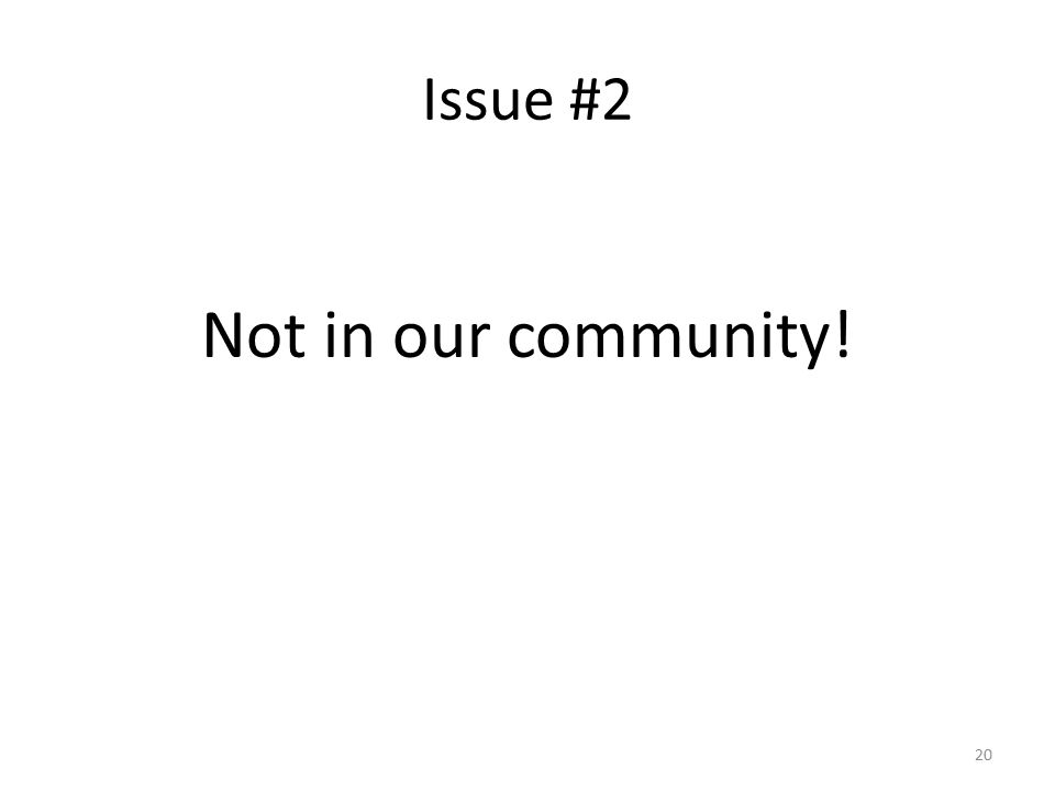 Issue #2 Not in our community! 20