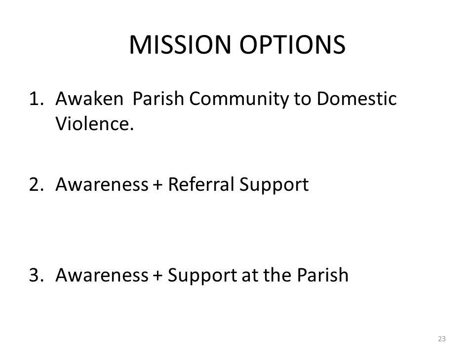 MISSION OPTIONS 1.Awaken Parish Community to Domestic Violence.