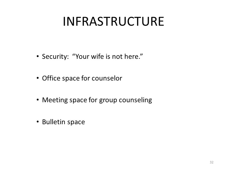 INFRASTRUCTURE Security: Your wife is not here. Office space for counselor Meeting space for group counseling Bulletin space 32