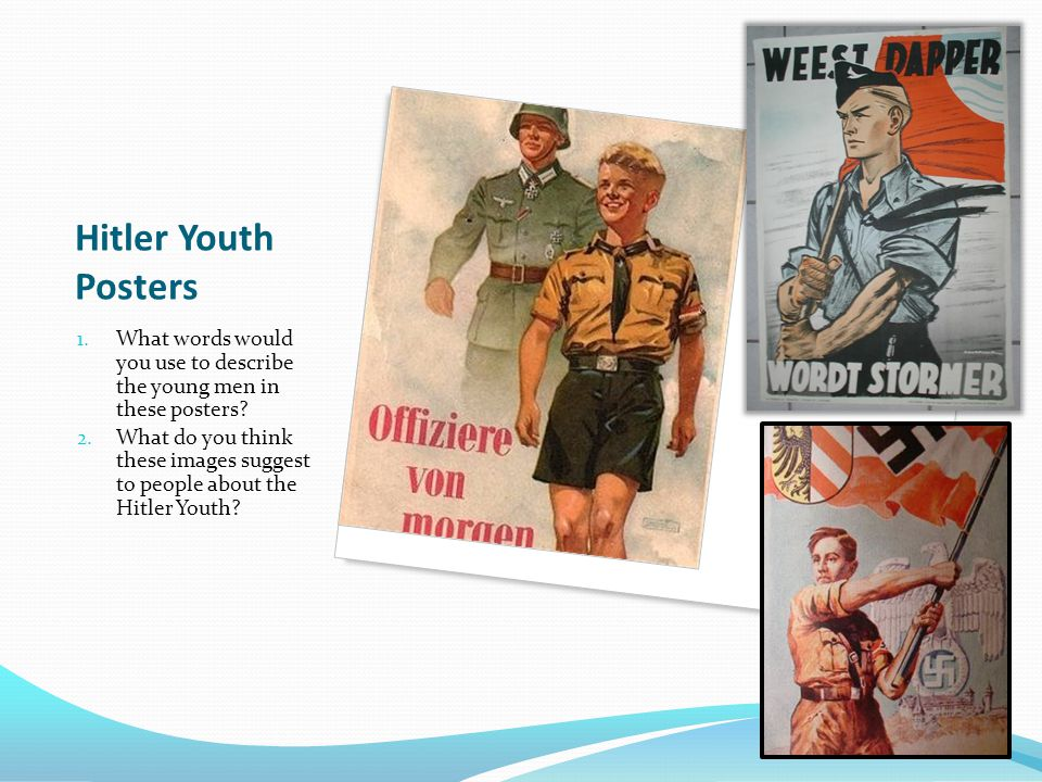 Hitler Youth Posters 1. What words would you use to describe the young men in these posters.