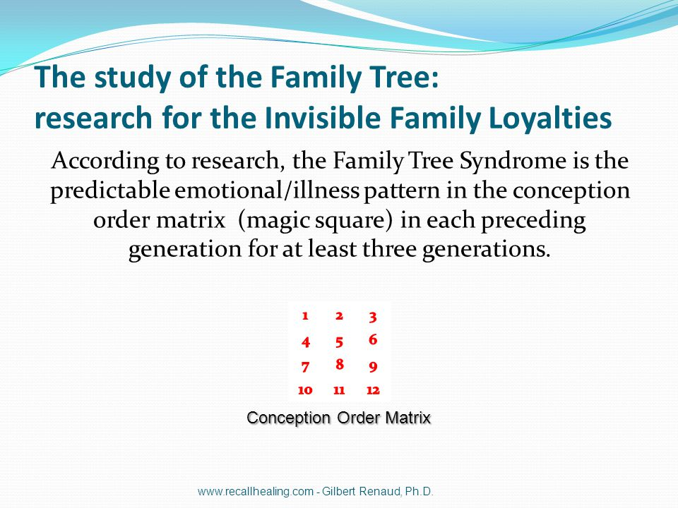 The study of the Family Tree: research for the Invisible Family Loyalties According to research, the Family Tree Syndrome is the predictable emotional
