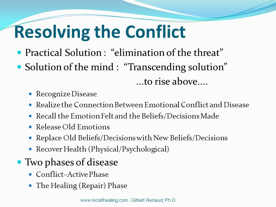 """Resolving the Conflict Practical Solution : """"elimination of the threat"""" Solution of the mind : """"Transcending solution""""...to rise above.... Recognize D"""