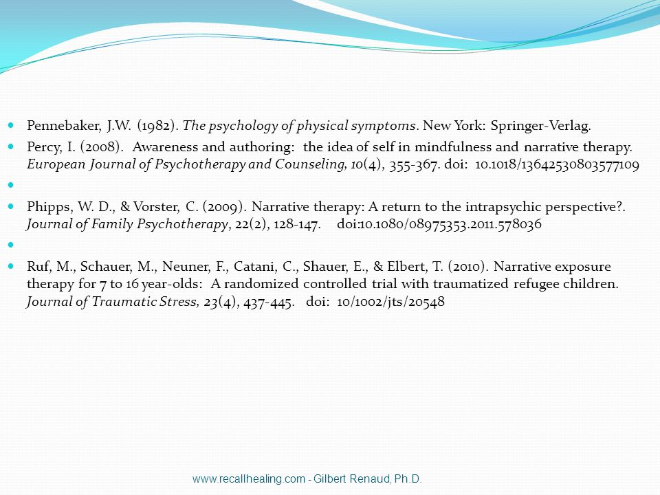 Pennebaker, J.W. (1982). The psychology of physical symptoms. New York: Springer-Verlag. Percy, I. (2008). Awareness and authoring: the idea of self i