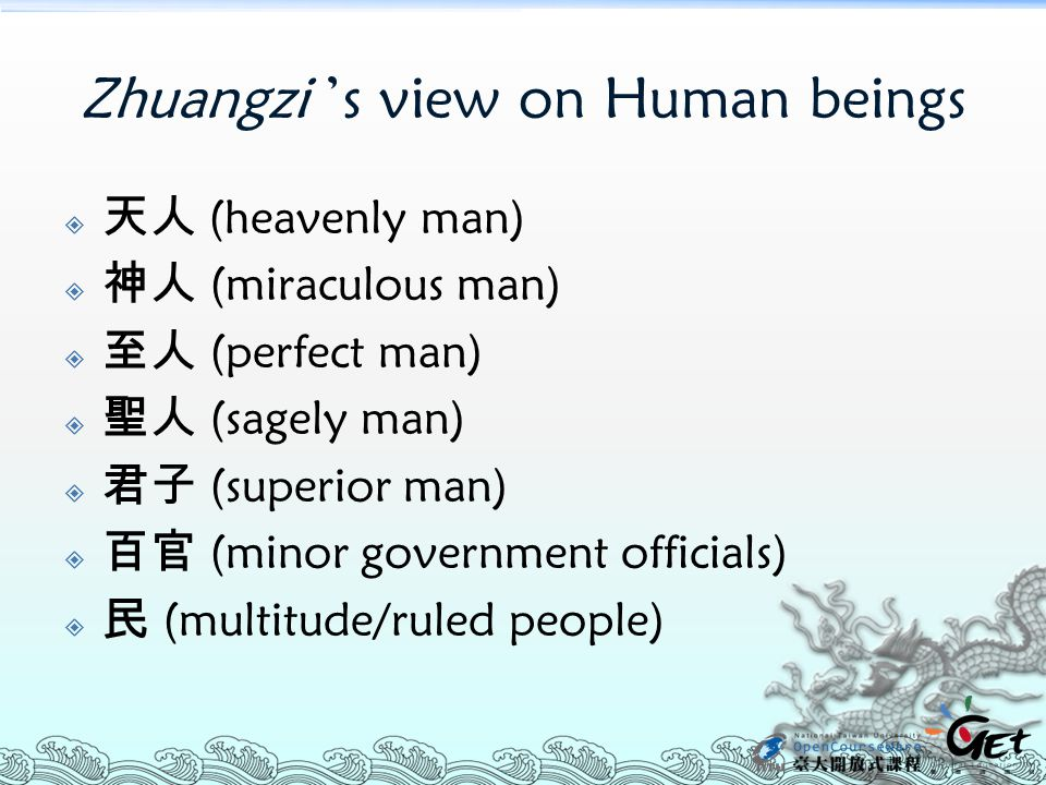 Zhuangzi 's view on Human beings  天人 (heavenly man)  神人 (miraculous man)  至人 (perfect man)  聖人 (sagely man)  君子 (superior man)  百官 (minor govern
