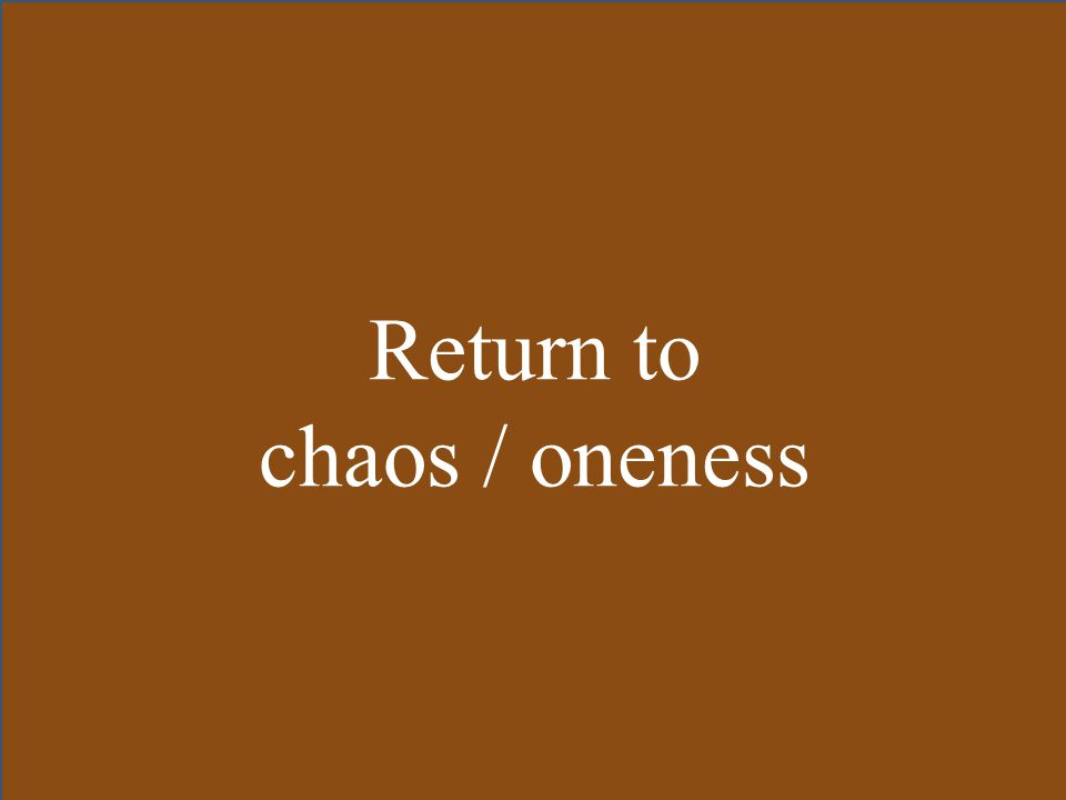 Return to chaos / oneness